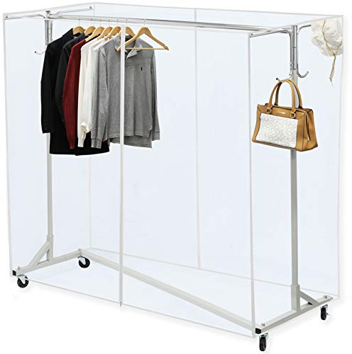 "Simple Houseware Industrial Grade Z-Base Garment Rack, 400lb Load with 62"" Extra Long bar w/Clear Cover and Tube Bracket"