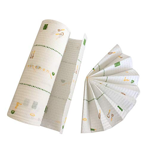 PandSキッチンタオルカウンタークロス使い捨て上品布キッチンペーパータオル食器洗いクロスタオル綿強い吸水速乾カラフル(1ロール)
