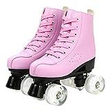 Damen Rollschuhe für Frauen, hohe Oberseite, zweireihige Rollschuhe mit PU-Leder, Indoor Outdoor Anfänger Erwachsene Jungen (rosa transparentes Rad ohne Blitz, 240 / EU-Größe 4,5 / EU-Größe 37)