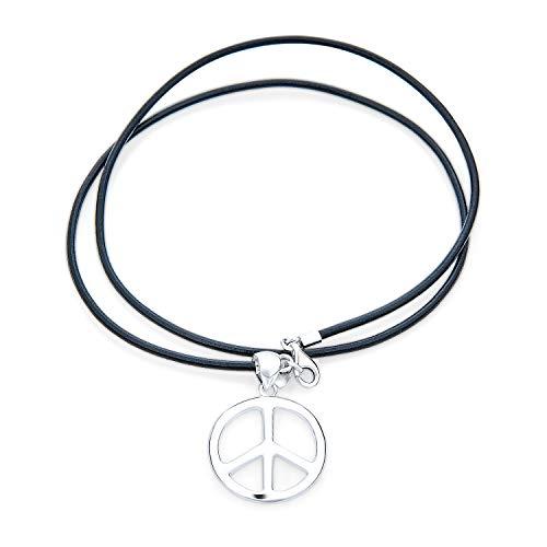 Bling Jewelry Gran Signo De Paz Collar Colgante para Hombres Y Mujer Adolescentes Cordón De Cuero Negro Pulido Plata Esterlina 925A