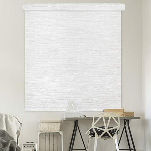 Godear Design Modern Free Stop Cordless Roller Shade with Cassette Valance, 35' x 72', 100% Blackout Fabric, Snow