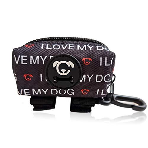 STUCH ® Kotbeutelspender für Hunde - Wasserdicht - Hundekotbeutel mit Leinenclip - Halter für Hundeleine - Kotbeuteltasche (Schwarz (Love))