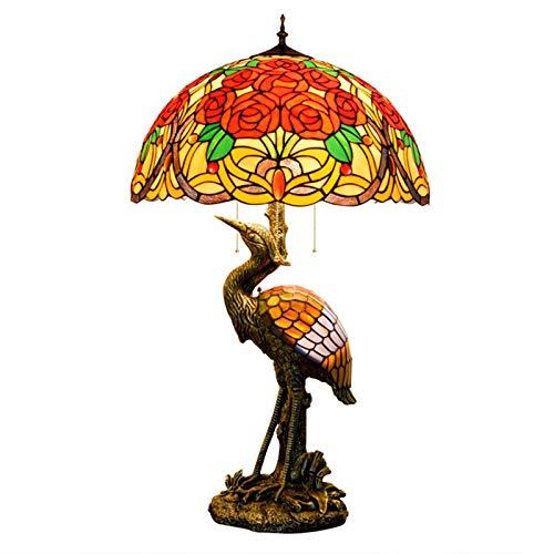 HAUSELIEBE Lampara de Sobremesa Estilo Tiffany, 20 Pulgadavidrieras de Colores Estilo Lámpara de Sobremesa Rosa Patrón Lámpara de Dormitorio Lámpara de Noche para La Sala de Estar