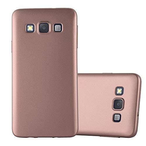 Cadorabo Custodia per Samsung Galaxy A3 2015 in Oro Rosa Metallico - Morbida Cover Protettiva Sottile di Silicone TPU con Bordo Protezione - Ultra Slim Case Antiurto Gel Back Bumper Guscio