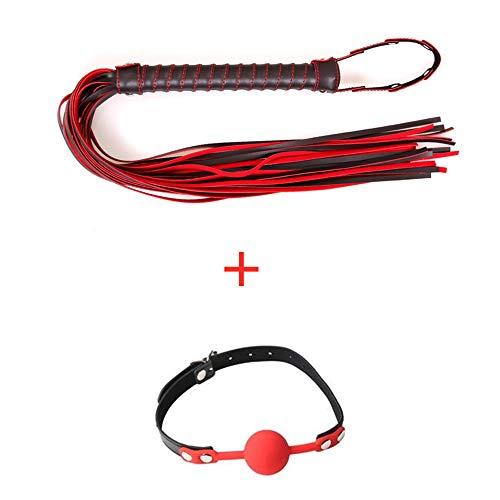 QISON Horsewhip Rojo/Negro + Bola de Silicona roja, Kit de arnés, Kit para el hogar para Juego...