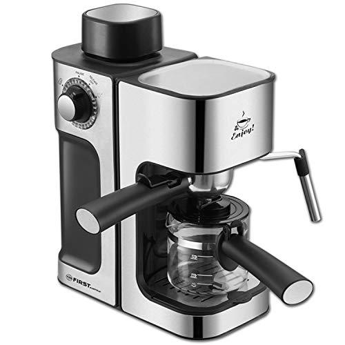 TZS First Austria Espressomaschine, für viele Kaffeespezialitäten, 0,25 L Kanne & Messlöffel, Dampfdüse zum Milch aufschäumen, in Schwarz/Edelstahl, 800 W