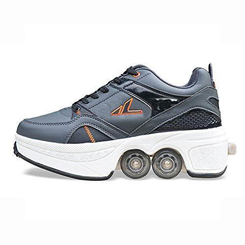WEDSGTV Zapatos De Deformación con Rodillos ,Zapatos De Skate Patines En Línea Zapatos Multiusos, 2 En 1 Patines De Cuatro Ruedas Ajustables Pares - Botas Masculinas Y Femeninas,Grey-31