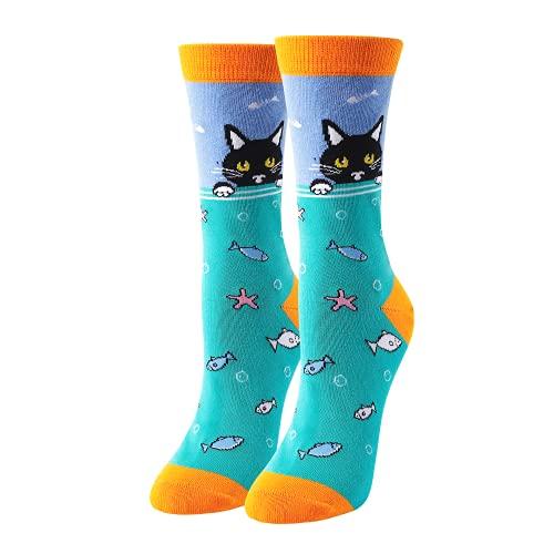 HAPPYPOP Women Girls' Sea Animal Socks Gift for Shark Whale Otter Cat Unicorn Lovers