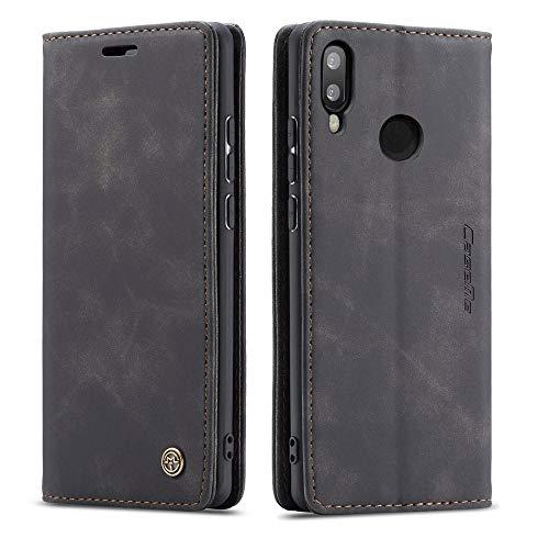 CE Mall Hülle für Huawei P Smart 2019, Leder Flip Handyhülle Schutzhülle Tasche Case mit [Magnetverschluss] [Standfunktion] [Kartenfach] für Huawei P Smart 2019 Handyhülle-Schwarz