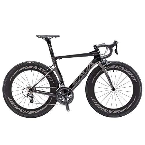SAVADECK Velo de Route Carbone, Phantom 3.0 700C Vélo de Course Homme Fibre de Carbone Shimano Ultegra 8000 22-Vitesses Michelin 25C Pneus Selle Fi'zi: k Route (Gris - 88mm Roues, 54cm)