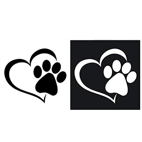 Wawogic Lindo Perro Pata melocotón corazón Coche Pegatina Dibujos Animados Animal Tomar Perro Gato Amor Mascota Coche Pegatina 3D Animal Perro Huella Huella
