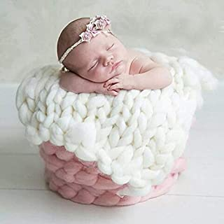 moahhally Baby Photography Props Blanket Wool Fiber Crochet Braid Chunky Knit Basket Stuffer Newborn Photography Blanket Background - one Size,Pink