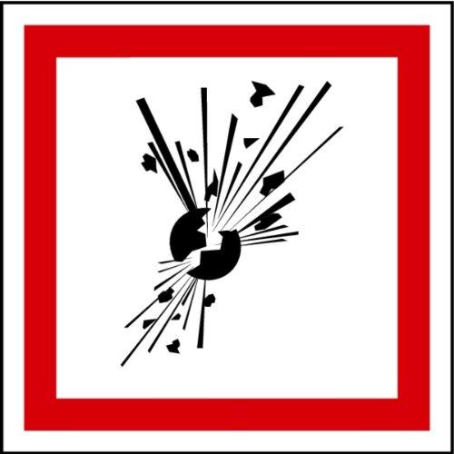Aufkleber GHS 01 Gefahrensymbole Explodierende Bombe Folie selbstklebend 1 Stück 100 x 100 mm (Explosion, Lebensgefahr, Sicherheitshinweis) praxisbewährt