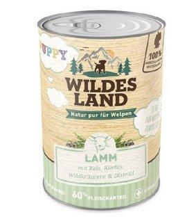Wildes Land | Puppy Lamm | 6 x 400 g | Mit Reis, Distelöl und Wildkräutern| Nassfutter für Hunde | Hoher Fleischanteil | Glutenfreies Hundefutter