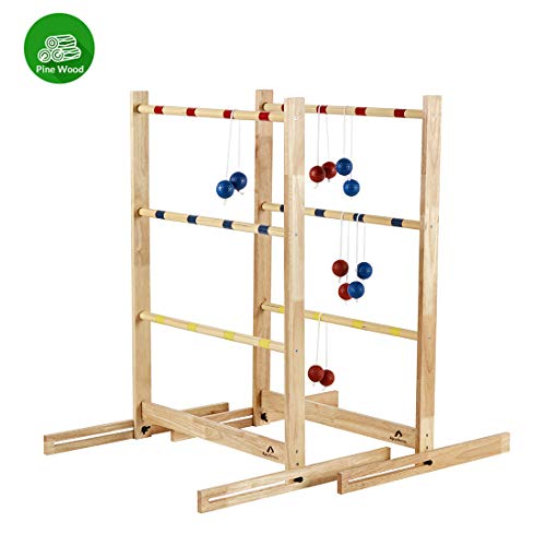 ApudArmis Ladder Toss Game Set, Pine Wooden Ladder Golf with 6 Bolas Balls - Outdoor Lawn Yard Beach Game for Kids Adults Family