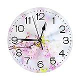 桜 掛け時計 壁掛け時計 おしゃれ 北欧 連続秒針 サイレント コンパク 円形 ウォールクロック 静音 デジタル置き時計 電池式 部屋装飾 プレゼント 直径約25CM