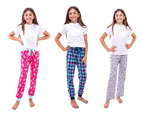 Sleep On It Sleepwear 3-Pack Girls Pajama Pants Soft Fleece and Brushed Jersey Loose Fit Comfortable Lounge Bottoms (Pink-Grey-Blue, 10-12)