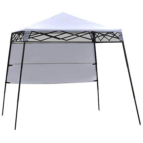 Outsunny Carpa Plegable 2,2x2,2x2m con Lateral Altura Ajustable Protección UV 50+ de Acero y Tela Oxford con Bolsa de Transporte Blanco