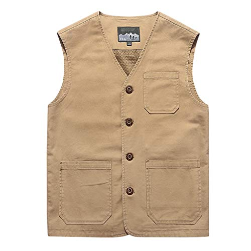 Fashion Vest Jacket for Men Denim Vest Casual Cowboy Jacket in Shoulder Blouse Khaki