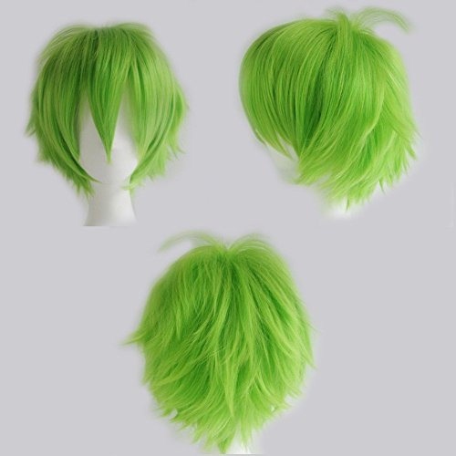 S-noilite Unisex Short Cosplay Wig Women Men Fluffy Straight Anime Comic Hairstyle Party Costume Dress Synthetic Hair Pixie Wigs Green