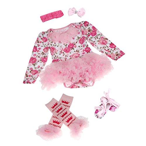 kingko® 4pcs Newborn Infant bébé Fille Romper Tutu Dress Bandeau Chaussures Chaussettes Ensembles Tenues Vêtements Bodysuit (6-12 Mois)