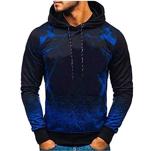 ZhOUJEE - Felpa con cappuccio da uomo, con stampa digitale, colore rosso, grigio, blu Blu XL