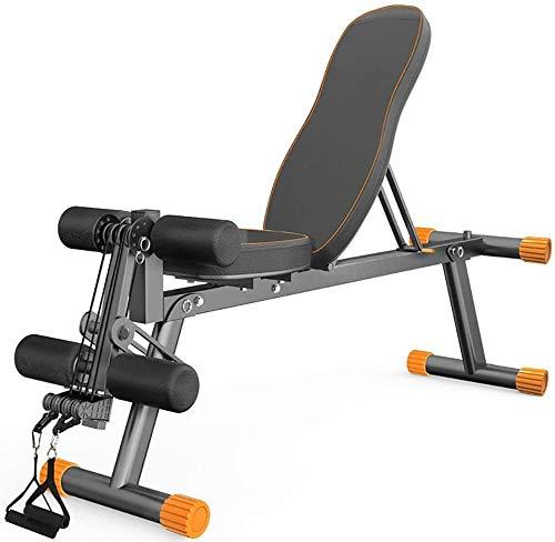 MUZIDP Banco de pesas para ejercicio con pesas y banco plano con ángulo ajustable de 6 posiciones, material acolchado de Eva, banco de fitness plegable, entrenamiento de carga de seguridad de 300 kg