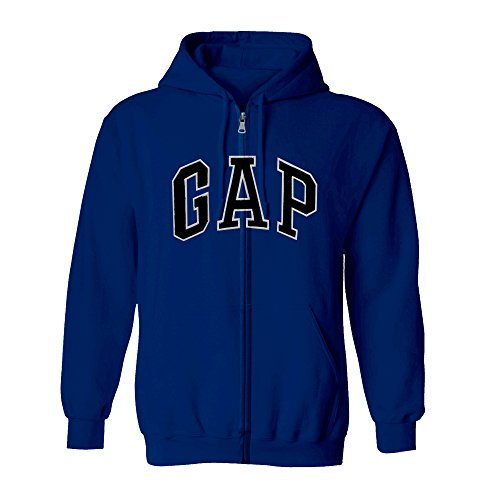 GAP Men's Full Zip Fleece Logo Hoodie (Large, Dark Blue)