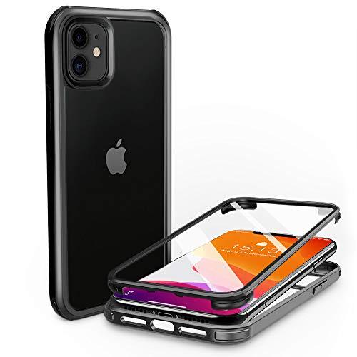 PHONEAURA Carcasa para iPhone 11 (protección completa, protección completa, carcasa doble), color negro