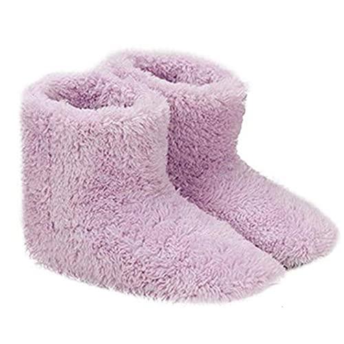 OKAYOU 加熱された靴電気加熱された靴快適なぬいぐるみフットウォーマー靴洗えるUsb充電電気加熱靴ギフト用