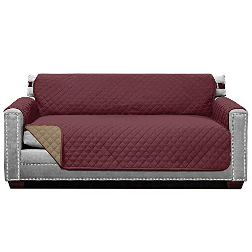 Sofa Shield Original Patent Pending Reversible Small Sofa Protector for Seat Width up to 62 Inch, Furniture Slipcover, 2 Inch Strap, Couch Slip Cover Throw for Pets, Kids, Cats, Sofa, Burgundy Tan