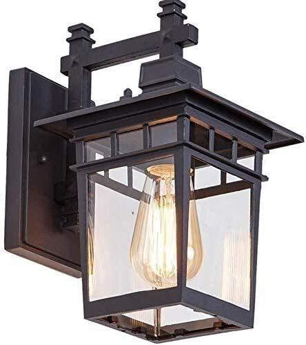 Lámpara De Pared Simple Y Fresca Iluminación de pared de metal Lámpara al aire libre impermeable IP44 Afuera Lámparas de pared Metal, Lavabo de pared negro Luces de lavado de pared y vidrio E27 Luz de