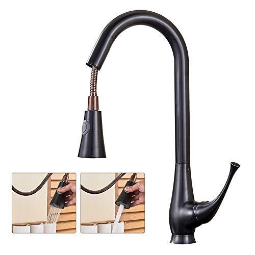 SUGU - Grifo de cocina extensible, con ducha, giratorio 360°, grifo mezclador con palanca, para cocina, lavabo, latón.