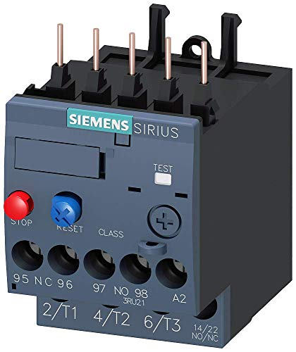 SIEMENS 3RU21161HB0 Thermal Overload Relay, 5.5 to 8.0 Amp, Class 10, Size S00, Contactor Mounting, Manual/Automatic Reset Screw Terminal