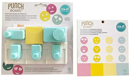 We R Memory Keepers 661810Emoji Punch Board herramientas Plus Extra 450PC bloque de papel–Bundle 2piezas