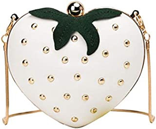 TOOGOO Cute Strawberry Heart Shape Pu Studs Fashion Lady Chain Wallet Clutch Bag Shoulder Bag Handbag White