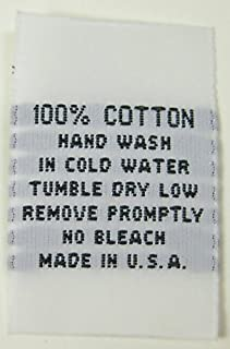 250 PCS White Woven Clothing Sewing Garment Care Label Tags - 100% Cotton Hand WASH Cold Water