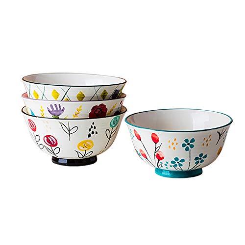 MDZF SWEET HOME 6 Inch Ceramic Bowl Set Deep Bowl for Cereal, Soup, Dessert and Fruit-Salad Serving Bowls Hand-painted Flower Patterns Tableware, Set of 4