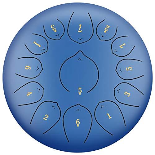 Augproveshak Stahl Zungentrommel 30,5 cm 13 Note Pan Drum Percussion Stahl Drum Instrument Handpan Drum mit Reisetasche, Buch, Schlägel, Fingerplektren blau