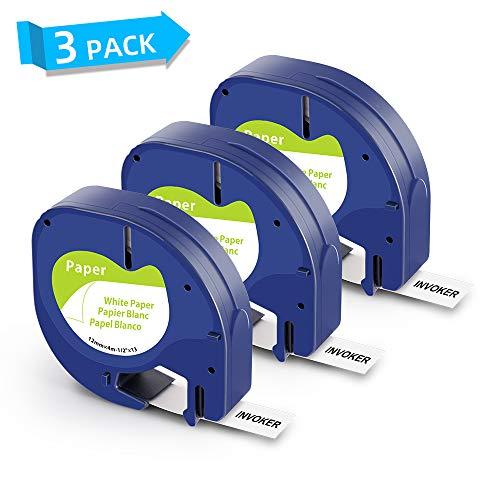 Invoker kompatible Etikettenband als Ersatz für Dymo LetraTag 91220 S0721520 Paper White Schriftband 12mm x 4m,für Dymo LetraTag LT-100H LT-100T LT-110T QX 50 XR XM 2000(Schwarzer auf Weiß,3er-Pack)