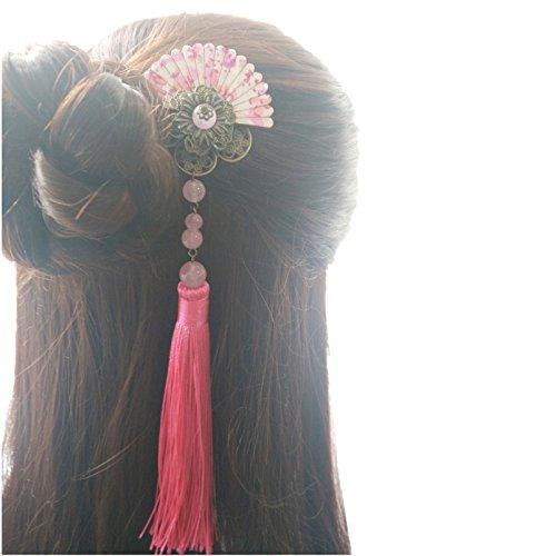 BOCHION Fan Forme Kimono Pince à Cheveux avec Gland Antique Bronze Fleur Style Japonais Cheveux Pince Belle Filles Cosplay Cheveux Accessoires (1 pièce rouge)