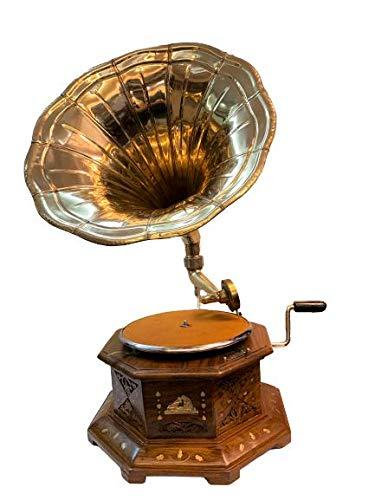 Antique Museum {HMV} His Master Voice The Gramophone Co. Brass Horn Vintage Wooden Six Corner Art Desk Décor Turntable Antique Machine Musical Box Phonograph A3BG 020