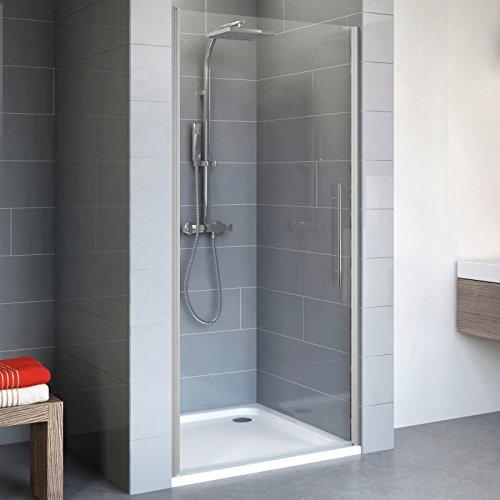 Schulte 4061554000560 porte de douche pivotante en niche, verre transparent, traitement anti-calcaire, profilé alu nature, 90x192 cm