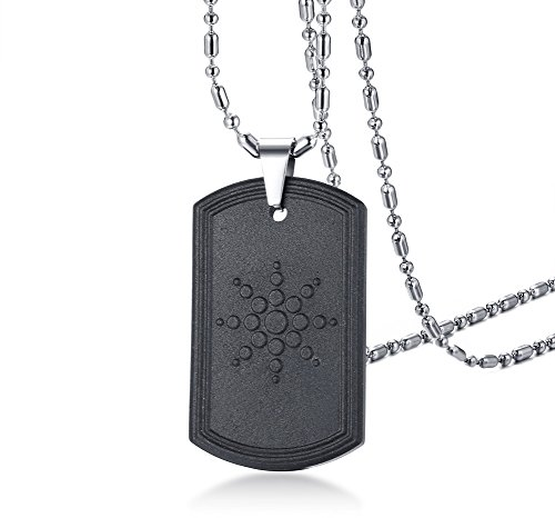 VNOX Lava Hematite Stone Dog Tag Pendant Necklace for Men Women,Free Chain