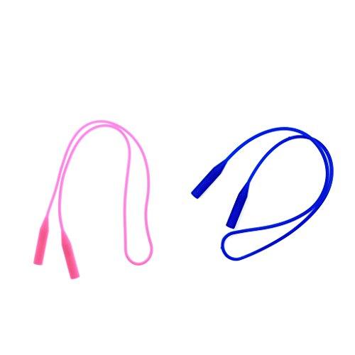 SDENSHI Correa Para Gafas De Silicona De 3 Piezas Soporte Antideslizante De Cuerda Larga Negro + Rosa + Azul