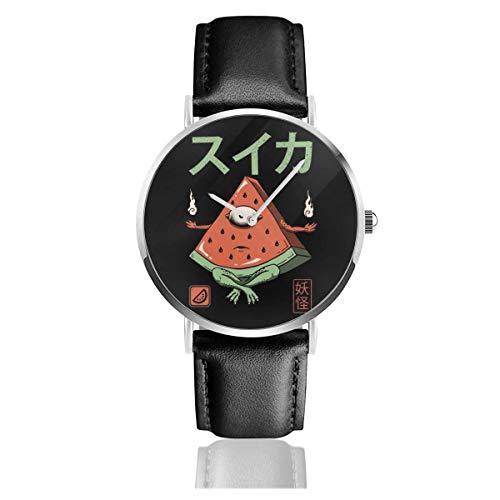 Relojes Cuarzo Cuero Banda Negra Colección Joven Regalo Unisex Business Casual Yokai Monsters Watermelon