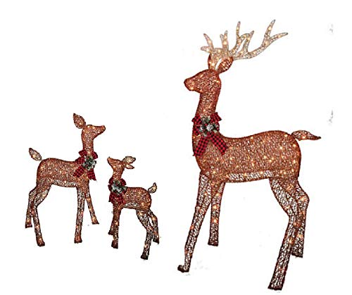 christmas reindeer family 3 piece set includes glittering gold buck doe and baby deer patio - Christmas Deer Yard Decorations