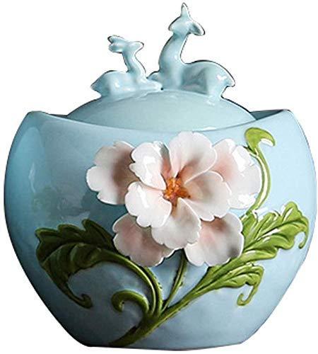 INSTO Urn Burial Atfins Urns para Cenizas Humanas, Flores Hechas a Mano Mascota Ataúd,Azul,S