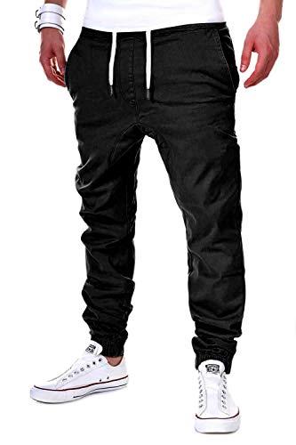 behype. Herren Chino-Hose Stretch Low Crotch Basic Jeans-Hose 80-0006 Schwarz L/W34