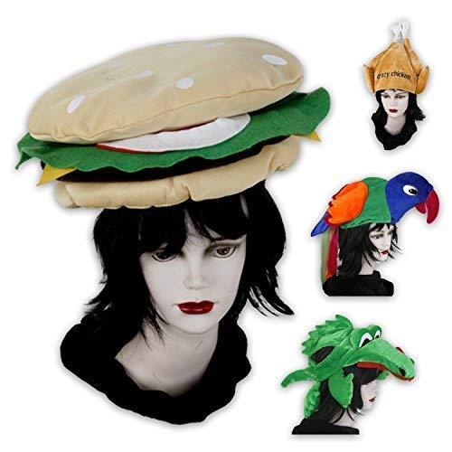 Lustige Kopfbedeckungen für Fasching, Partys od. Junggesellenabschiede - Hamburger, Papagei, Krokodil und Hähnchen (Hamburger)